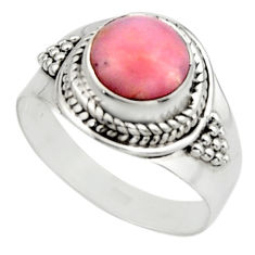925 sterling silver 3.13cts natural pink opal solitaire ring size 7 r12948