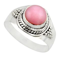 3.32cts natural pink opal 925 sterling silver solitaire ring size 9 r12949