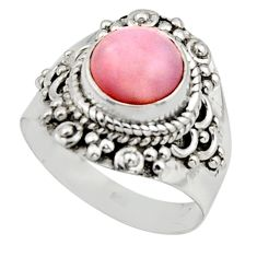 3.14cts natural pink opal 925 sterling silver solitaire ring size 7.5 r12950