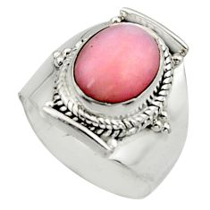 3.88cts natural pink opal 925 sterling silver solitaire ring size 6.5 r12951