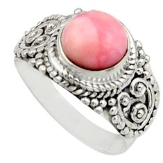 925 sterling silver 3.01cts natural pink opal solitaire ring size 7 r12952