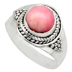 3.32cts natural pink opal 925 sterling silver solitaire ring size 9 r12953