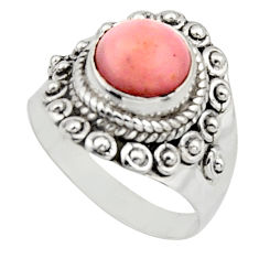 3.11cts natural pink opal 925 sterling silver solitaire ring size 7 r12954
