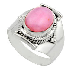 925 sterling silver 4.07cts natural pink opal solitaire ring size 6.5 r12955