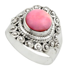 3.14cts natural pink opal 925 sterling silver solitaire ring size 7 r12957