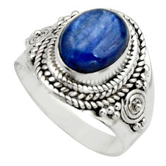 4.02cts natural blue kyanite 925 sterling silver solitaire ring size 7 r12962