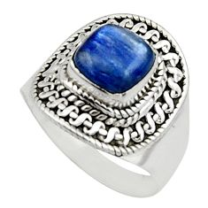 3.16cts natural blue kyanite 925 sterling silver solitaire ring size 8 r12970
