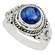 3.41cts natural blue kyanite 925 sterling silver solitaire ring size 8.5 r12972