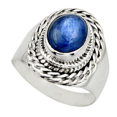 4.21cts natural blue kyanite 925 sterling silver solitaire ring size 7 r12973