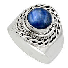 3.28cts natural blue kyanite 925 sterling silver solitaire ring size 7 r12979