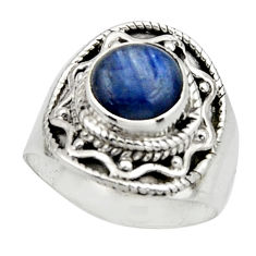 3.01cts natural blue kyanite 925 sterling silver solitaire ring size 6.5 r12980
