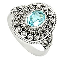 2.33cts natural blue topaz 925 sterling silver solitaire ring size 6.5 r12983