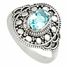 925 silver 2.09cts natural blue topaz oval shape solitaire ring size 6 r12988