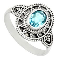 1.96cts natural blue topaz 925 sterling silver solitaire ring size 10 r12989