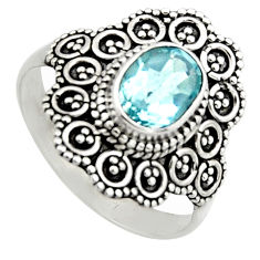 925 silver 2.09cts natural blue topaz oval shape solitaire ring size 7.5 r12999