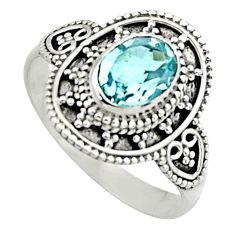 2.12cts natural blue topaz 925 sterling silver solitaire ring size 8 r13001