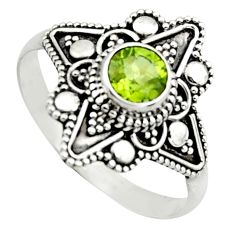 1.21cts natural green peridot 925 silver solitaire ring jewelry size 10.5 r13008