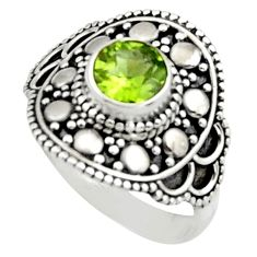 925 silver 1.39cts natural green peridot solitaire ring jewelry size 9 r13011