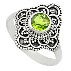 1.30cts natural green peridot 925 silver solitaire ring jewelry size 8.5 r13013