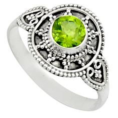 1.21cts natural green peridot 925 silver solitaire ring jewelry size 10 r13014