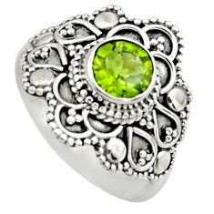 1.22cts natural green peridot 925 silver solitaire ring jewelry size 7.5 r13017