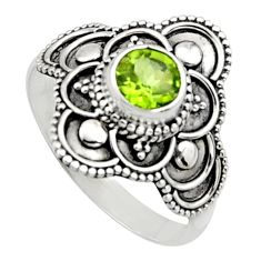 1.21cts natural green peridot 925 silver solitaire ring jewelry size 8.5 r13020