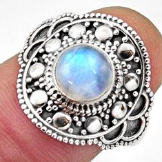 925 silver 2.49cts natural rainbow moonstone round solitaire ring size 7 r13024