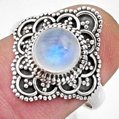 2.44cts natural rainbow moonstone 925 silver solitaire ring size 8 r13037
