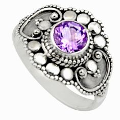 1.30cts natural purple amethyst 925 silver solitaire ring jewelry size 10 r13042