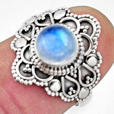 2.61cts natural blue moonstone 925 silver solitaire ring jewelry size 6 r13057