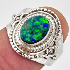 2.72cts natural doublet opal australian 925 silver solitaire ring size 7 r13066