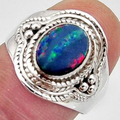 2.77cts natural blue doublet opal australian silver solitaire ring size 7 r13068