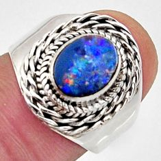 925 silver 2.81cts natural doublet opal australian solitaire ring size 7 r13070