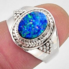 2.61cts natural blue doublet opal australian silver solitaire ring size 7 r13075