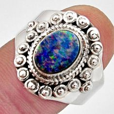 925 silver natural blue doublet opal australian solitaire ring size 8.5 r13077