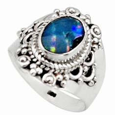 2.54cts natural blue doublet opal australian silver solitaire ring size 7 r13082