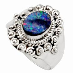 2.68cts natural blue doublet opal australian silver solitaire ring size 8 r13083