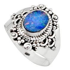 Natural blue doublet opal australian 925 silver solitaire ring size 8.5 r13090
