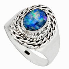 Natural blue doublet opal australian 925 silver solitaire ring size 8.5 r13093