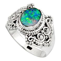 2.56cts natural doublet opal australian silver solitaire ring size 8.5 r13096