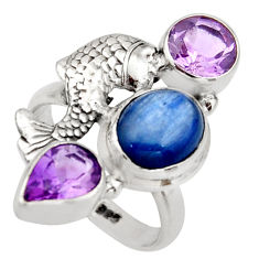 7.58cts natural blue kyanite purple amethyst 925 silver fish ring size 7 r13101
