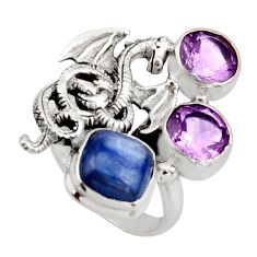 925 silver 6.53cts natural blue kyanite amethyst dragon ring size 7 r13104