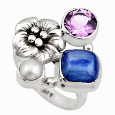 5.63cts natural blue kyanite amethyst 925 silver flower ring size 6.5 r13105