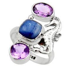 6.63cts natural blue kyanite amethyst 925 silver seahorse ring size 7 r13107