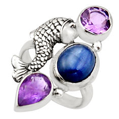 7.35cts natural blue kyanite amethyst 925 silver fish ring size 6.5 r13110