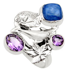 5.82cts natural blue kyanite amethyst 925 silver dolphin ring size 8.5 r13111