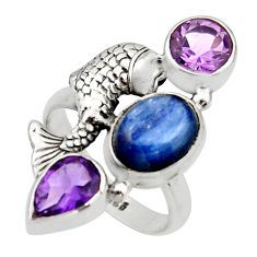 7.72cts natural blue kyanite amethyst 925 silver fish ring size 8.5 r13112