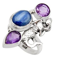 7.85cts natural blue kyanite amethyst silver fairy mermaid ring size 8 r13113