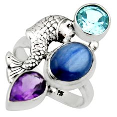 7.58cts natural blue kyanite amethyst 925 silver fish ring size 8.5 r13115