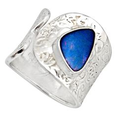 3.41cts natural doublet opal australian 925 silver adjustable ring size 8 r13122